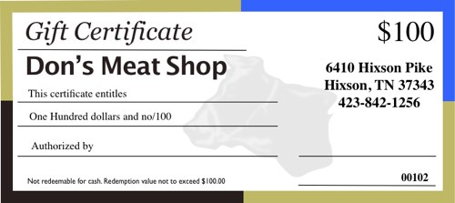 chattanooga meat gift certificate