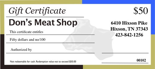 don's meat shop gift certificate